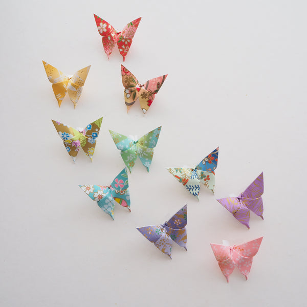 Pack of 10 Pastel Origami Paper Butterflies - Small