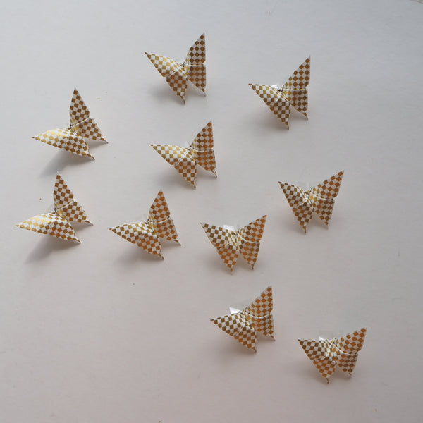 Pack of 10 White & Gold Check Yuzen Washi Origami Paper Butterflies - Small