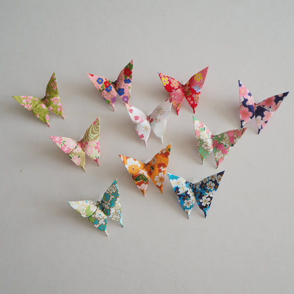 Pack of 10 Summer Flower Garden Yuzen Washi Origami Paper Butterflies - Small