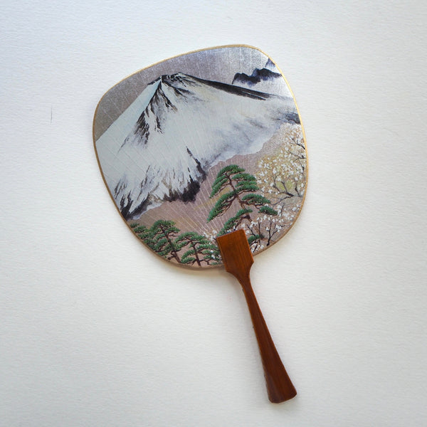 Uchiwa-fan Greeting Card - Mount Fuji and the Pine Trees