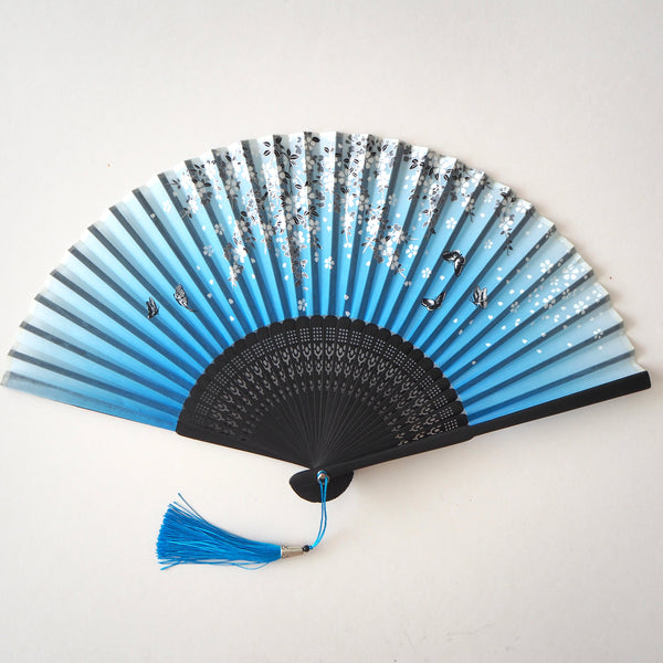 Folding Fan - Blue Flowers and Butterflies