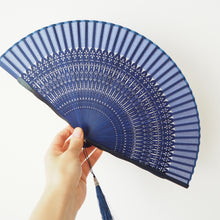 Japanese Hand Held Fan - Blue