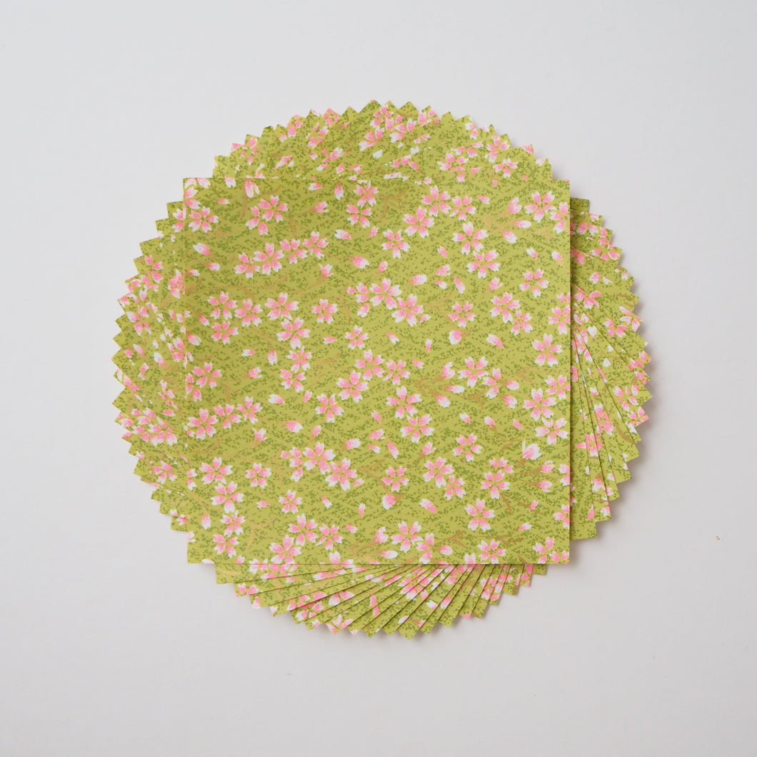 Pack of 20 Sheets 14x14cm Yuzen Washi Origami Paper HZ-379 - Pink Cherry Blossom Matcha