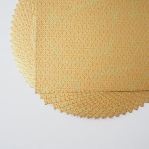 Pack of 20 Sheets 14x14cm Yuzen Washi Origami Paper HZ-474 - Gold Diamond Flower