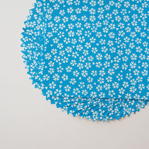 Pack of 20 Sheets 14x14cm Yuzen Washi Origami Paper HZ-362 - Cherry Blossom Cerulean Blue