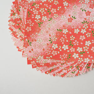 Pack of 20 Sheets 14x14cm Yuzen Washi Origami Paper HZ-230 - Small Cherry Blossom Pink Gradation