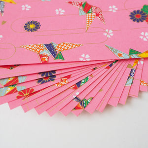 Pack of 20 Sheets 14x14cm Yuzen Washi Origami Paper HZ-102 - Origami Cranes Pink (L)