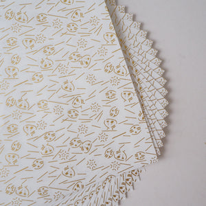 Pack of 20 Sheets 14x14cm Yuzen Washi Origami Paper HZ-107 - Gold Shells White