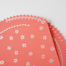 Pack of 20 Sheets 14x14cm Yuzen Washi Origami Paper HZ-108 - Small Silver Cherry Blossom Brown Red