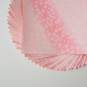 Pack of 20 Sheets 14x14cm Yuzen Washi Origami Paper HZ-121 - Small Cherry Blossom Pink Gradation