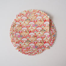 Pack of 20 Sheets 14x14cm Yuzen Washi Origami Paper HZ-032 - Gorgeous Floral Fans & Crane Circle