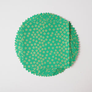 Pack of 20 Sheets 14x14cm Yuzen Washi Origami Paper HZ-057 - Gold Small Plum Flowers Green