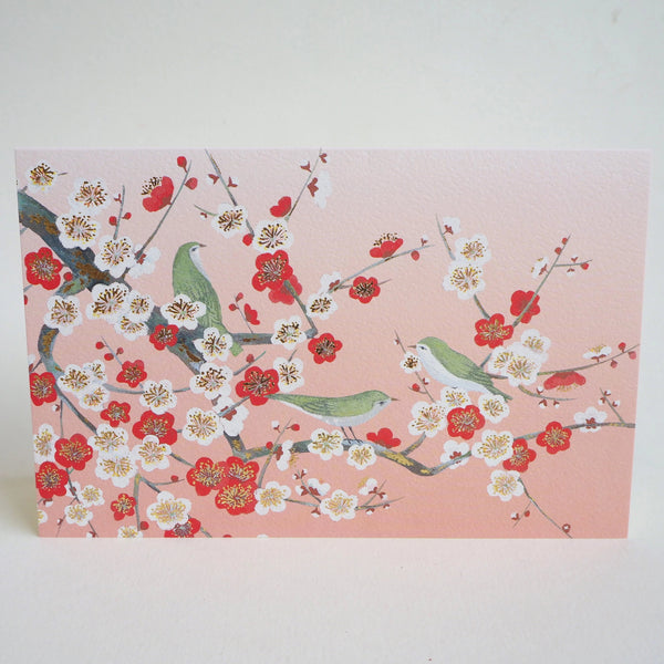 Japanese Art Greeting Card - Wild Birds on Flowering Plum Tree Branches