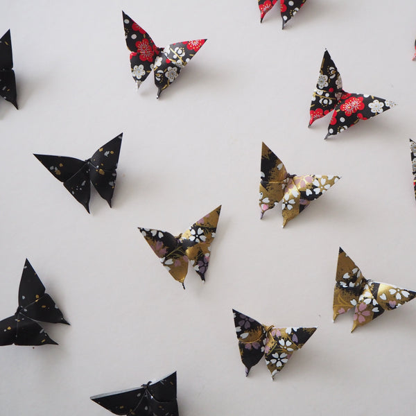 Pack of 10 Halloween Yuzen Washi Origami Paper Butterflies - Small