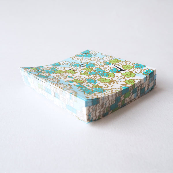 Pack of 100 Sheets 7x7cm Yuzen Washi Origami Paper  HZ-001 - Aqua Cherry Blossom - washi paper - Lavender Home London