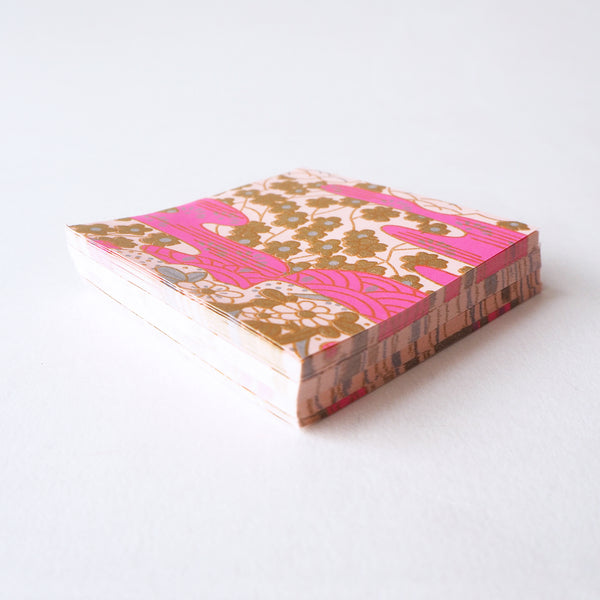 Pack of 100 Sheets 7x7cm Yuzen Washi Origami Paper  HZ-002 - Pink Sea Waves Garden - washi paper - Lavender Home London
