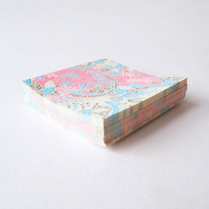 Pack of 100 Sheets 7x7cm Yuzen Washi Origami Paper  HZ-003 - Pink Cream Flower Basket - washi paper - Lavender Home London