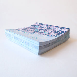 Pack of 100 Sheets 7x7cm Yuzen Washi Origami Paper HZ-005 - Cherry Blossom Flowing Blue Water - washi paper - Lavender Home London