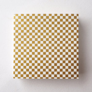 Pack of 100 Sheets 7x7cm Yuzen Washi Origami Paper HZ-051 - Gold Checkerboard (S) - washi paper - Lavender Home London