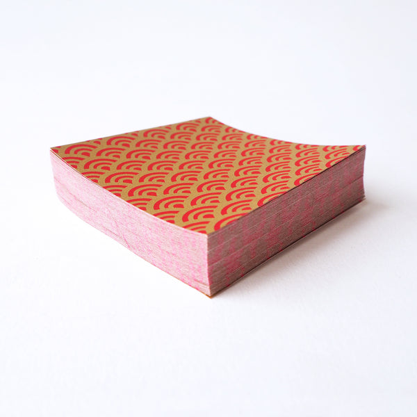 Pack of 100 Sheets 7x7cm Yuzen Washi Origami Paper  HZ-055 - Sea Waves Red Gold - washi paper - Lavender Home London