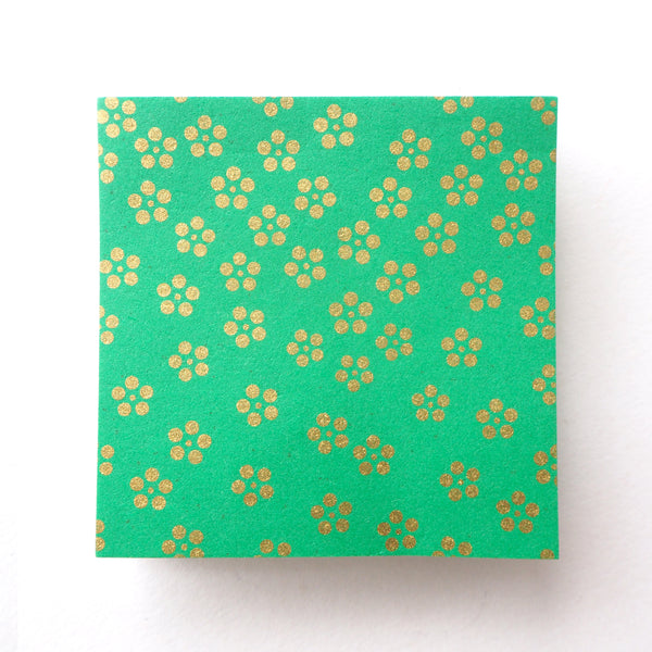 Pack of 100 Sheets 7x7cm Yuzen Washi Origami Paper  HZ-057 - Gold Small Plum Flowers Green - washi paper - Lavender Home London