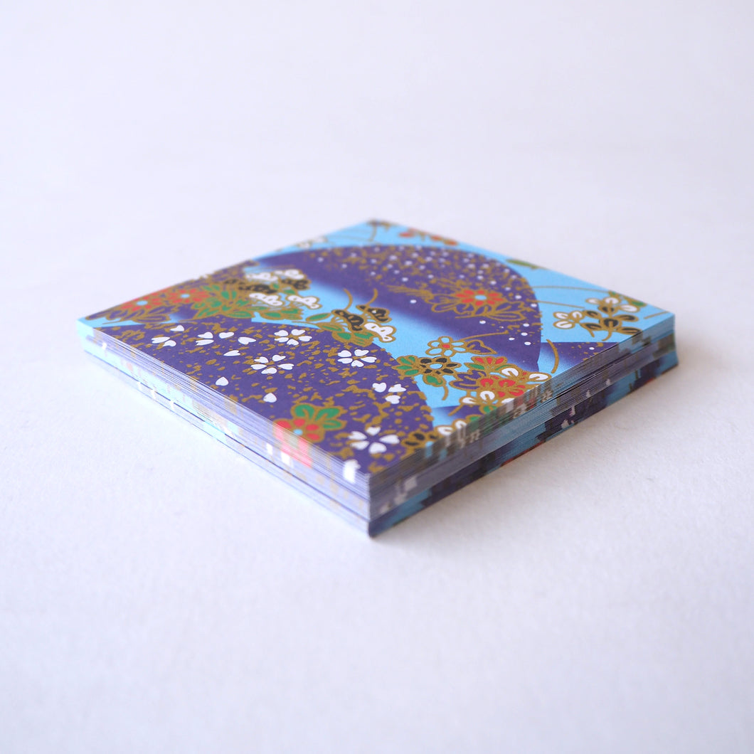 Pack of 100 Sheets 7x7cm Yuzen Washi Origami Paper HZ-058 - Flower Mountain Blue - washi paper - Lavender Home London