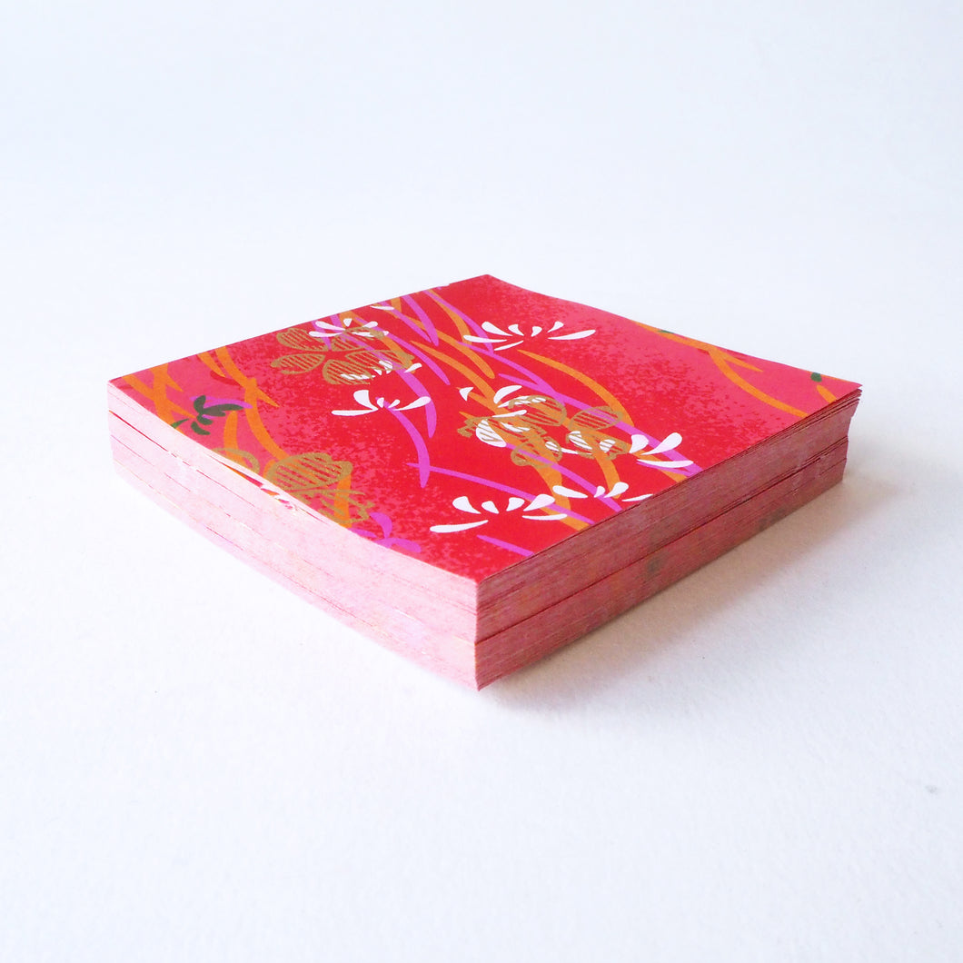 Pack of 100 Sheets 7x7cm Yuzen Washi Origami Paper HZ-083 - Gold Cherry Blossom Red - washi paper - Lavender Home London