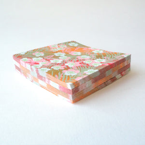 Pack of 100 Sheets 7x7cm Yuzen Washi Origami Paper HZ-103 - Plum Flowers & Peacock Feather - washi paper - Lavender Home London