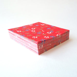 Pack of 100 Sheets 7x7cm Yuzen Washi Origami Paper HZ-116 - Small Cherry Blossom Red - washi paper - Lavender Home London