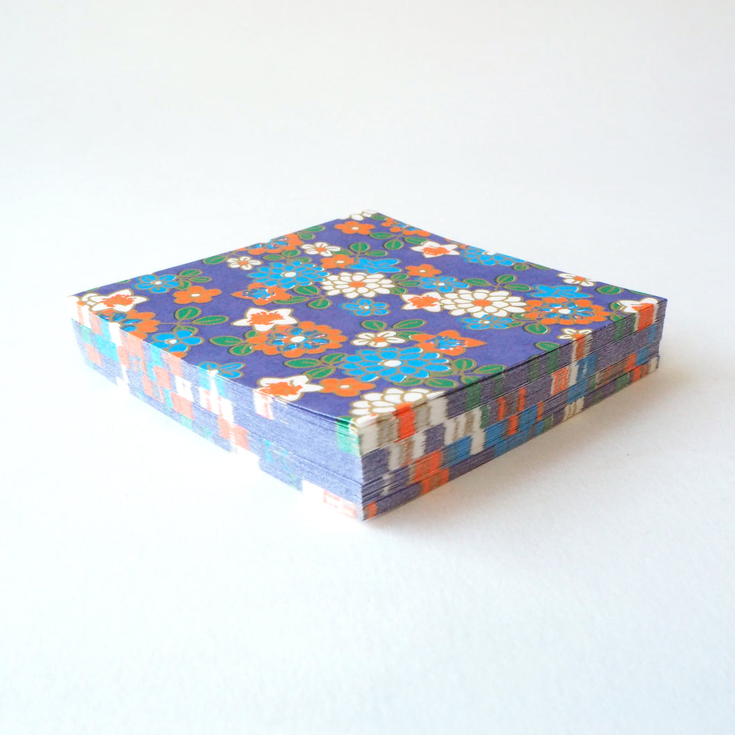 Pack of 100 Sheets 7x7cm Yuzen Washi Origami Paper HZ-117 - Chrysanthemum & Bellflowers Purple - washi paper - Lavender Home London