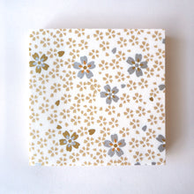 Pack of 100 Sheets 7x7cm Yuzen Washi Origami Paper HZ-157 - Small Gold Cherry Blossom White - washi paper - Lavender Home London