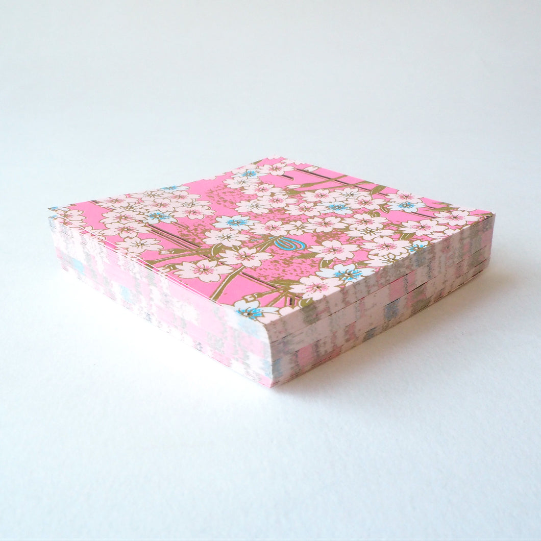 Pack of 100 Sheets 7x7cm Yuzen Washi Origami Paper HZ-163 - Girly Pink Cherry Blossom - washi paper - Lavender Home London