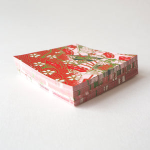 Pack of 100 Sheets 7x7cm Yuzen Washi Origami Paper HZ-202 - Cherry Blossom & Floral Fans Red - washi paper - Lavender Home London