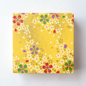 Pack of 100 Sheets 7x7cm Yuzen Washi Origami Paper HZ-223 - Cherry Blossom Yellow - washi paper - Lavender Home London