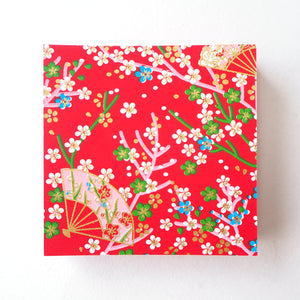 Pack of 100 Sheets 7x7cm Yuzen Washi Origami Paper HZ-263 - Small Plum Flowers & Fans Red - washi paper - Lavender Home London