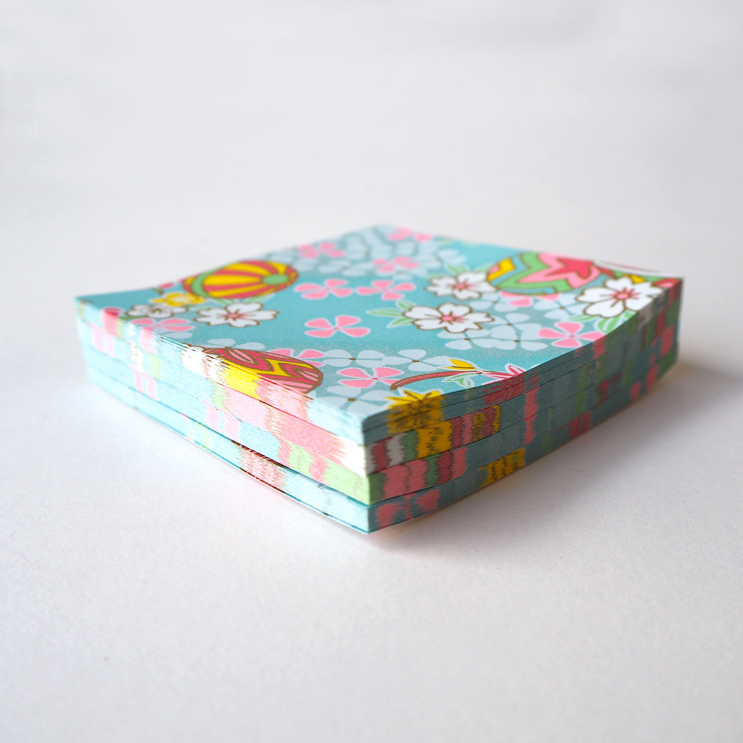 Pack of 100 Sheets 7x7cm Yuzen Washi Origami Paper HZ-283 - Temari Thread Balls & Cherry Blossom Aqua Blue - washi paper - Lavender Home London