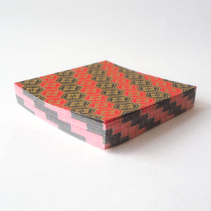 Pack of 100 Sheets 7x7cm Yuzen Washi Origami Paper HZ-305 - Black Red Striped Tortoiseshell Diamond Flower - washi paper - Lavender Home London