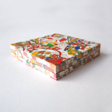 Pack of 100 Sheets 7x7cm Yuzen Washi Origami Paper HZ-339 - Jewelled Box & Flower White - washi paper - Lavender Home London