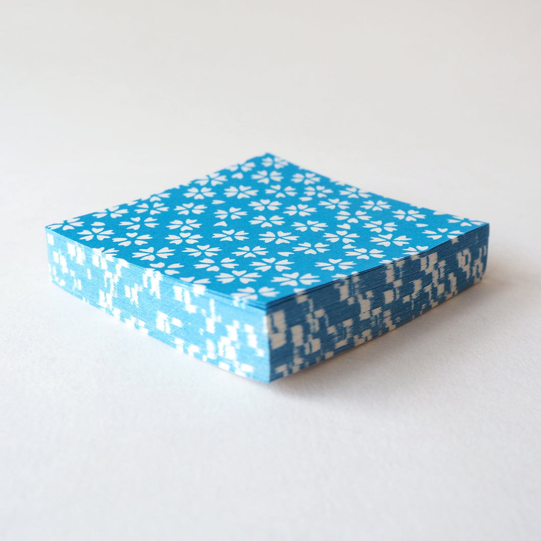 Pack of 100 Sheets 7x7cm Yuzen Washi Origami Paper HZ-362 - Cherry Blossom Cerulean Blue - washi paper - Lavender Home London