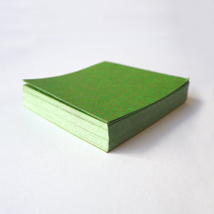 Pack of 100 Sheets 7x7cm Yuzen Washi Origami Paper HZ-376 - Spreading Pine Needles Green - washi paper - Lavender Home London