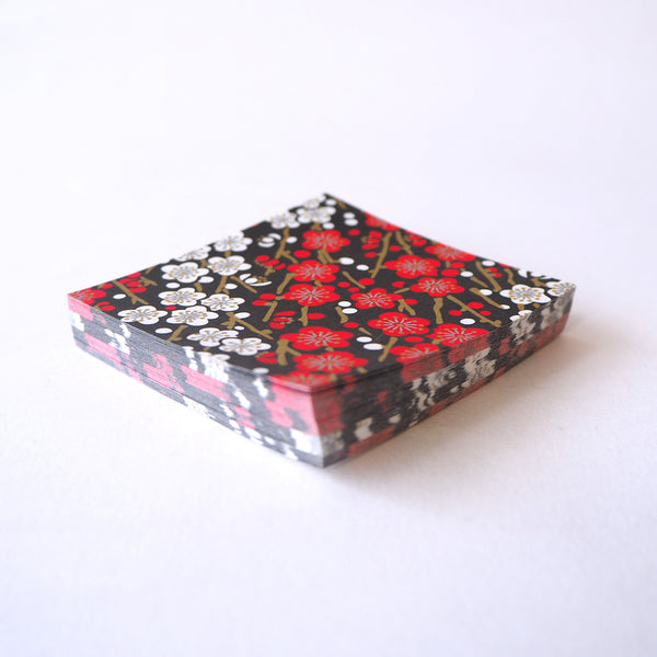 Pack of 100 Sheets 7x7cm Yuzen Washi Origami Paper HZ-382 - Red White Plum Flower Black