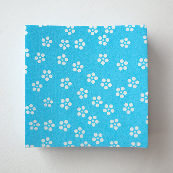 Pack of 100 Sheets 7x7cm Yuzen Washi Origami Paper - Small Plum Flowers Dodger Blue