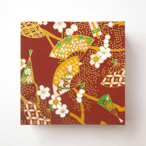 Pack of 100 Sheets 7x7cm Yuzen Washi Origami Paper - Floral Fans Brown
