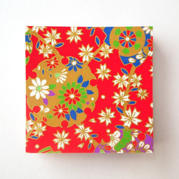 Pack of 100 Sheets 7x7cm Yuzen Washi Origami Paper - Cherry Blossom Illusion Red