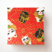 Pack of 100 Sheets 7x7cm Yuzen Washi Origami Paper HZ-428 - Fortune Cats Red - washi paper - Lavender Home London