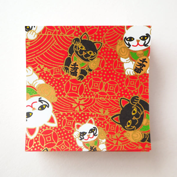 Pack of 100 Sheets 7x7cm Yuzen Washi Origami Paper - Fortune Cats Red