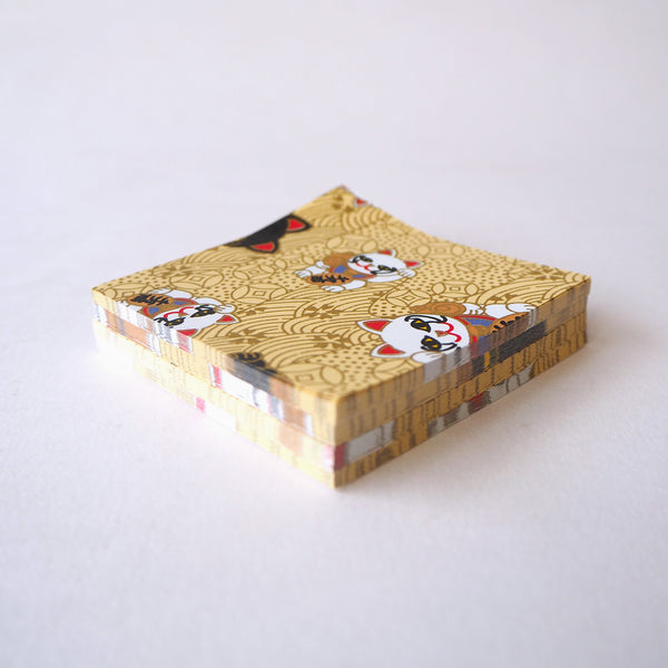 Pack of 100 Sheets 7x7cm Yuzen Washi Origami Paper - Fortune Cats Gold