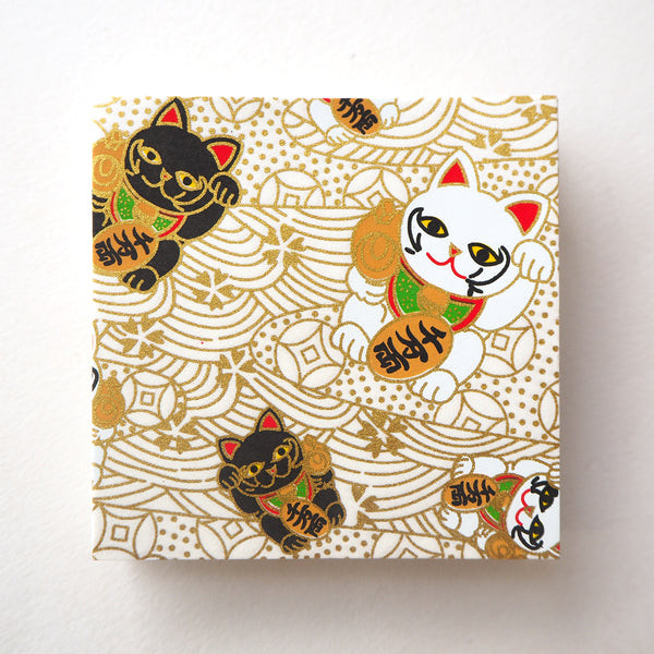 Pack of 100 Sheets 7x7cm Yuzen Washi Origami Paper - Fortune Cats White (S)