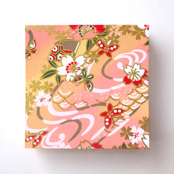 Pack of 100 Sheets 7x7cm Yuzen Washi Origami Paper - Cherry Blossom & Butterflies