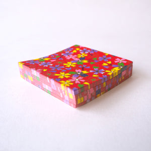 Pack of 100 Sheets 7x7cm Yuzen Washi Origami Paper HZ-439 - Multicoloured Cherry Blossom Red - washi paper - Lavender Home London